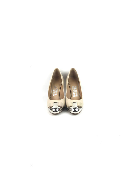 Nude Smooth Leather Bowtie Pumps W/ Silver Cap Toes