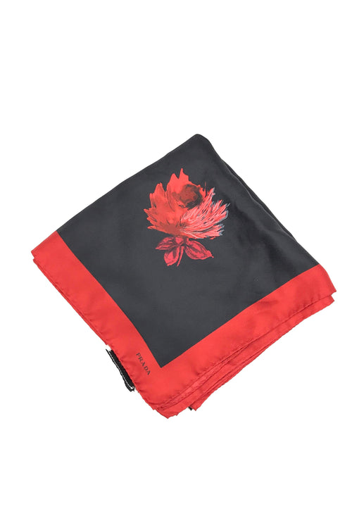 Black W/ Red Rose Pattern Silk Scarf
