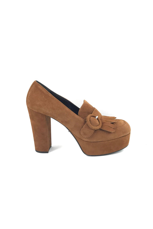 Brown Suede Rounded Toe Heeled Platforms