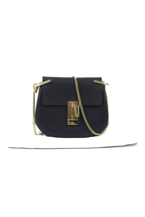 Black Grained Leather Drew Mini Shoulder Bag