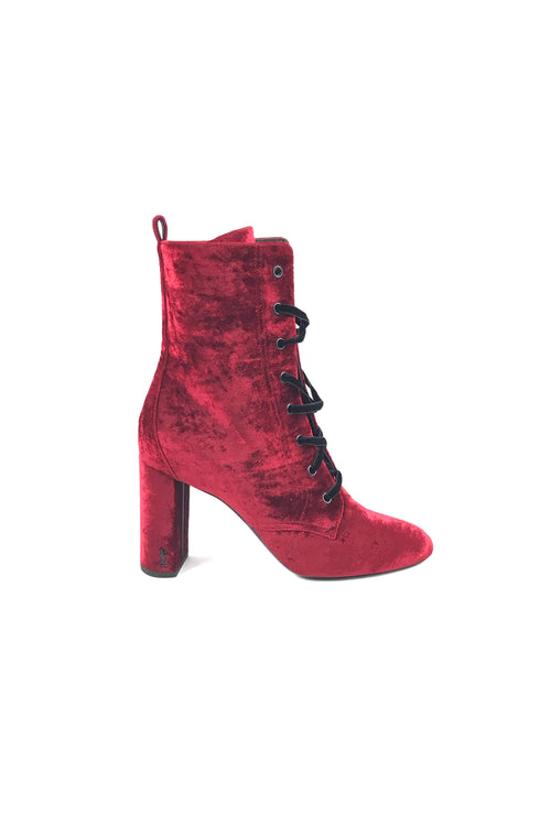 Red Velvet Lou Lou 95 Lace-Up Ankle Boots