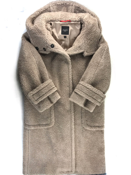 Beige 50% Wool/Polyester Hooded Long Teddy Coat