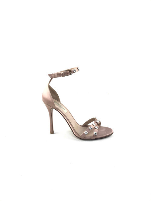 Pink Silk Strappy Sandals W/ Crystal Accents