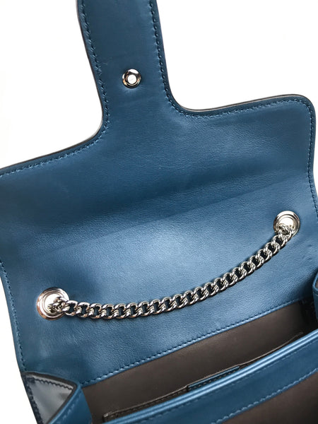 Small Dusty Avio Smooth Interlocking GG Clasp Chain Bag W/SHW