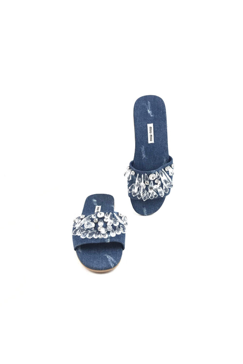 Blue Denim W/ Crystal Accent Slides