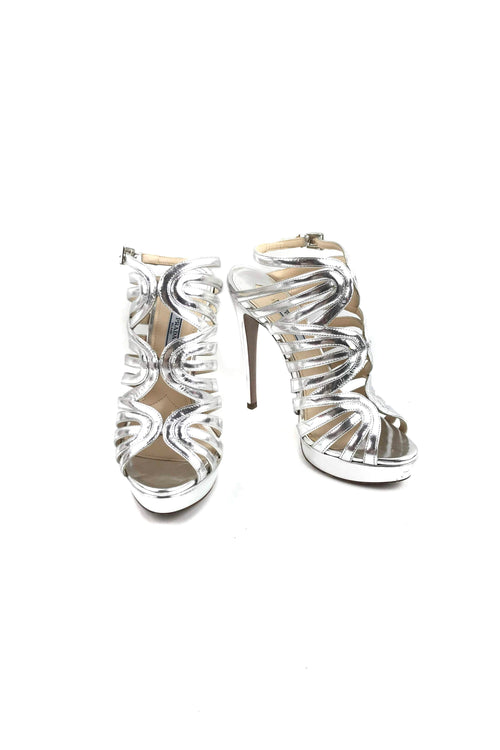 Metallic Silver Strappy Heeled Sandals