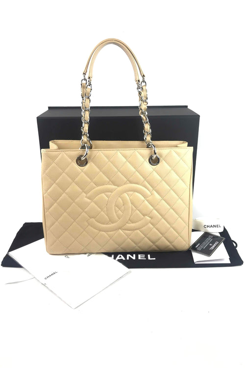 Beige Caviar Quilted GST W/ SHW