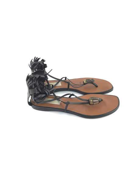 Black Leather Wrap Around Thong Sandal