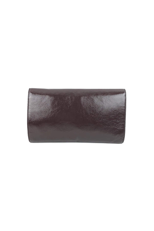 d00886cdacf Brown Patent Crinkled Leather Large Belle Du Jour Clutch