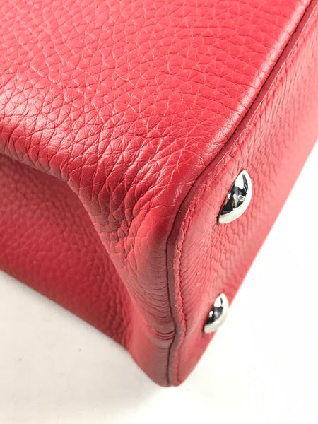 Red Grained Leather Capucines MM W/Python Handle