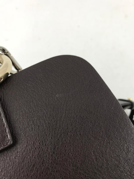 Brown Pebbled Leather & Suede Faye Backpack W/ GHW