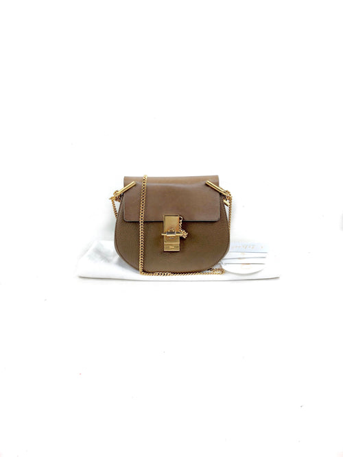 Light Brown Mixed Leathers Mini Drew Bag W/GHW