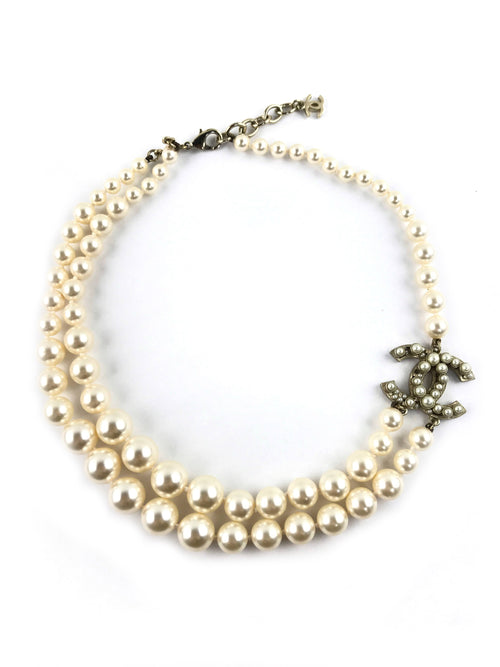 Faux Pearl CC Double Strand Choker W/AGHW