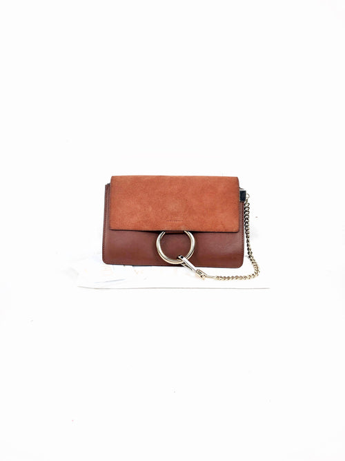 Faye Tobacco Suede/Smooth Leather Small Faye Crossbody Bag W/GHW