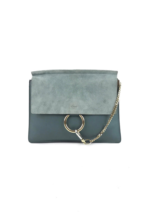 Mint Green Smooth Leather & Suede Medium Faye Bag