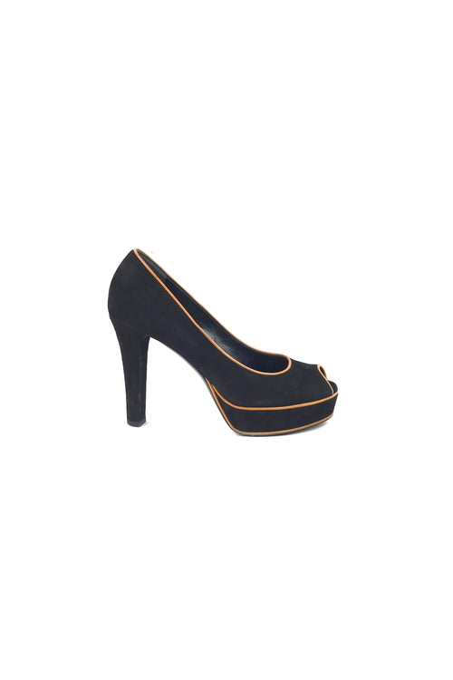Black Suede & Orange Leather Piping Open Toe Pumps
