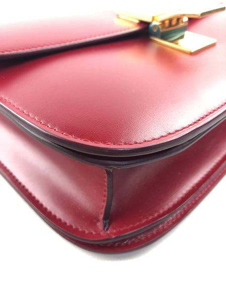 Red Smooth Leather Medium Classic Box Bag W/GHW