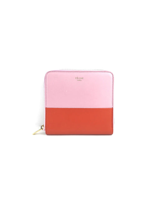 2 Tone Bifold Light Pink/Orange Zippy Wallet W/GHW