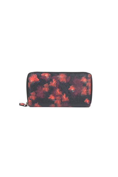 Black Rose Printed Zip Wallet