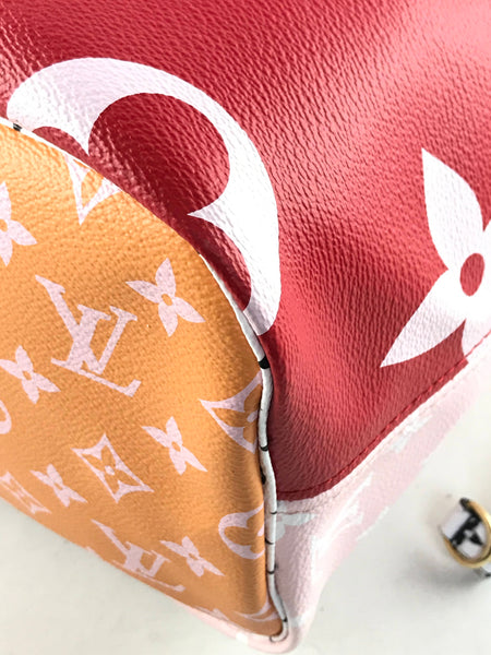 Giant Monogram Pink/Red/Orange/Black/White Neverfull MM Tote W/GHW