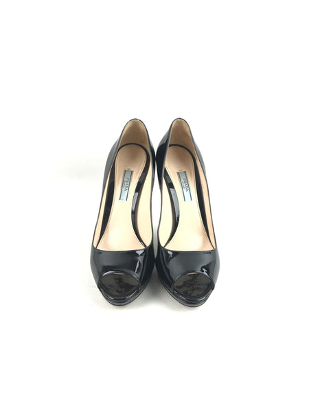 Black Patent Leather Peep Toe Pumps