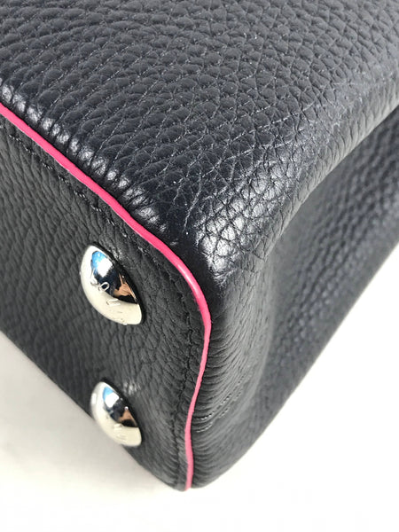 Capucines BB Taurillon Black/Fuchsia Leather W/SHW