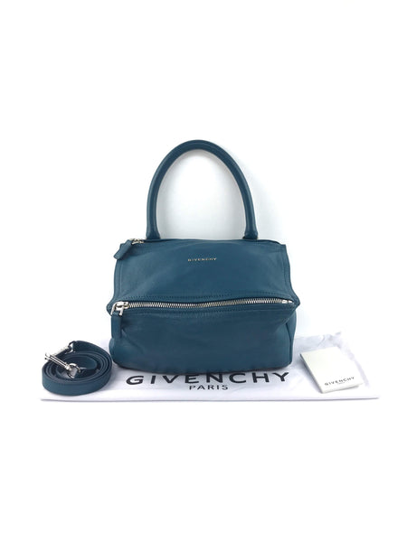 Blueish Green Goatskin Grained Leather Pandora Small Bag W/SHW