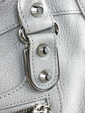Light Grey Grained Leather Motorcross Classic Edge City Bag W/SHW