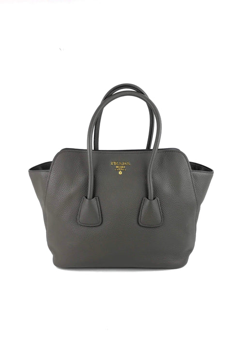 29524c9fa8e99e Graphite Vitello Daino Leather Top Handle Tote Bag W/ GHW