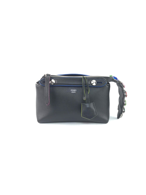 Black Grained Leather By The Way Bag W/Rainbow Crystal Strap