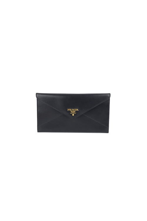 Black Box Calf Leather Envelope Wallet/Clutch - Haute Classics