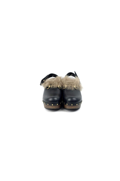 Black Leather Amstel Fur Clogs - Haute Classics