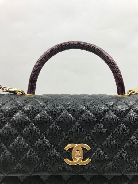 Large Black Caviar Leather/Burgundy Snakeskin Coco Handle W/ GHW