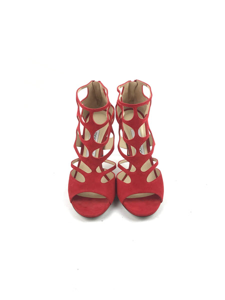 Red Suede Caged Heeled Sandals