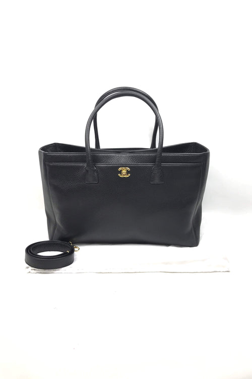 Cerf Black Grained Leather Tote W/ GHW