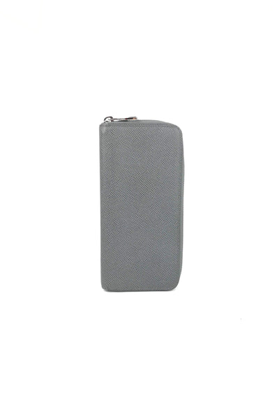 Grey Taiga Leather Zippy Vertical Wallet