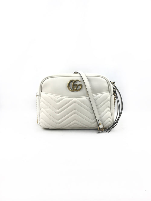 GG Marmont White Matellasse Medium Leather Shoulder Bag W/AGHW