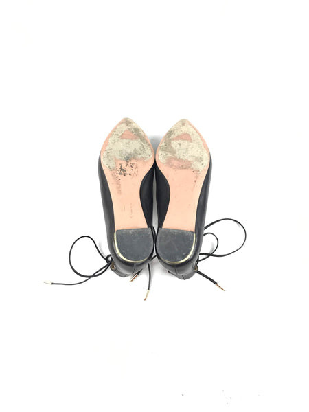 Black Pointed Toe Christy Lace-Up Flats W/ GHW