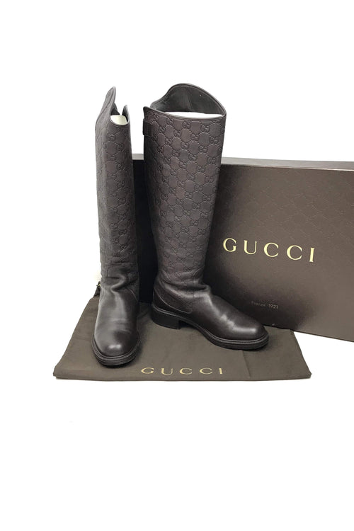 Brown Guccissima Embossed Maud Riding Boots