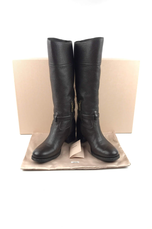 Brown Grained Leather Knee High Flat Boots
