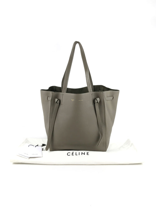 Taupe Grained Leather Phantom Cabas Tote