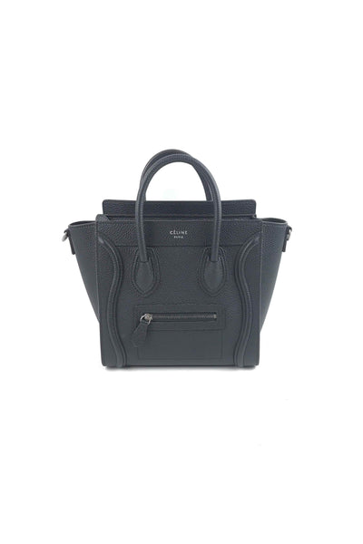 Black Drummed Leather Nano Luggage Tote W/ SHW