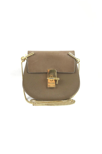 Light Brown Mixed Leathers Mini Drew Bag W/ GHW