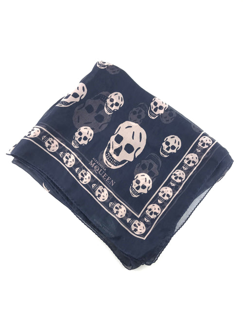 Black/Purple Silk Skull Scarf