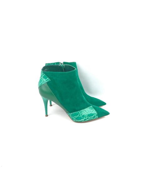 Green Suede/Lizard/Croc Leather Ankle Heeled Boots
