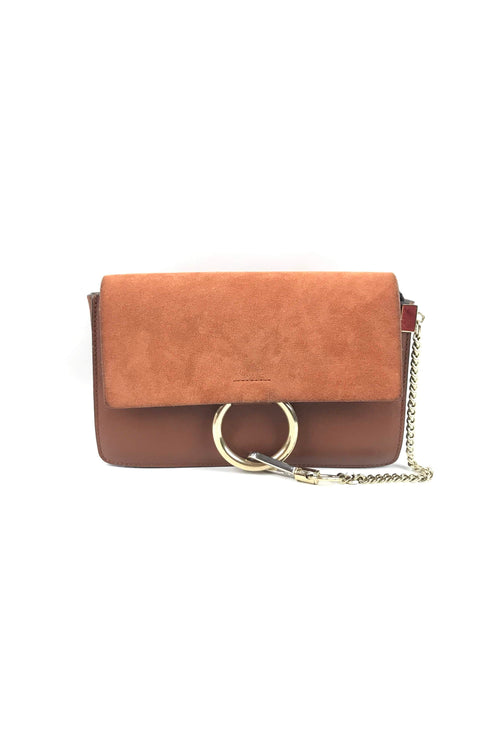 Faye Tobacco Suede & Smooth Leather Small Faye Crossbody Bag W/ GHW