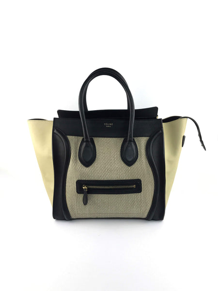 Beige/Black Leather/Straw Woven Mini Luggage