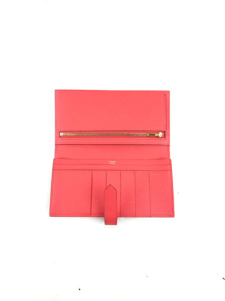 Bearn Classic Wallet Epsom Rose Jaipur Leather W/ GHW - Haute Classics