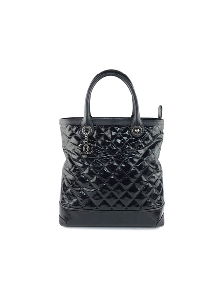 Black/Charcoal Patent Leather Shopping Tote