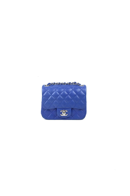 Blue Lambskin Quilted Square Mini Flap Bag W/ SHW